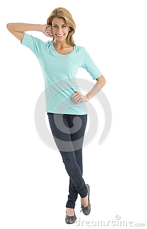 Portrait Of Happy Woman With Hand On Hip