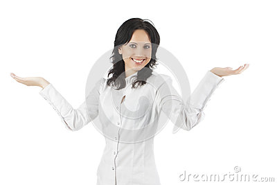 Portrait of a happy woman showing and gesturing