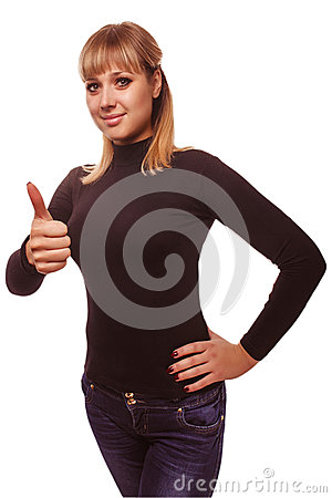Portrait happy woman young girl shows positive