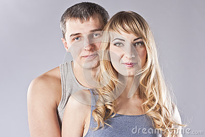 Portrait of a happy young couple. Studio
