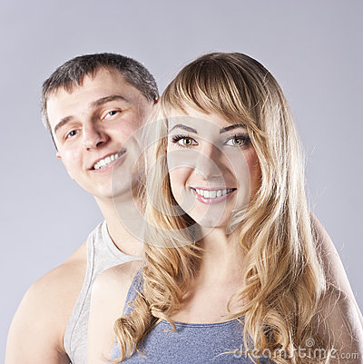 Portrait of a happy young couple. Studio