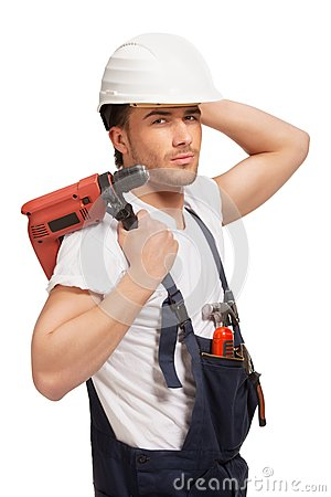Portrait of happy young handyman with tool