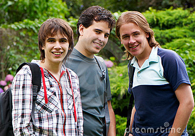Portrait happy young students
