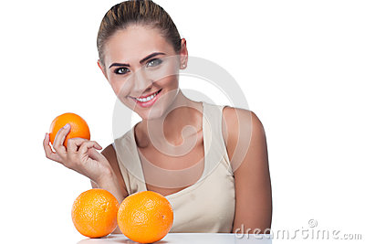 Portrait of happy young woman with juice