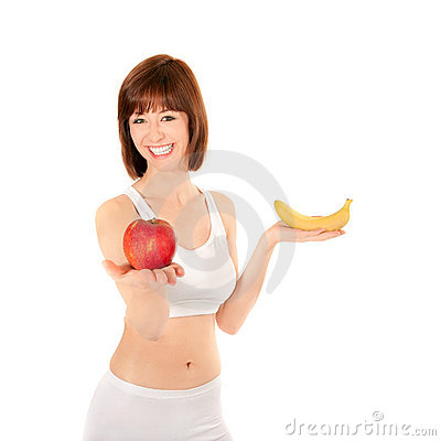 Portrait of healthy woman with apple and banana