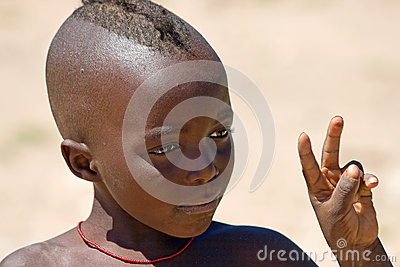 Portrait of Himba Boy Editorial Stock Photo