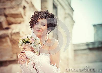 Portrait of hopeful bride