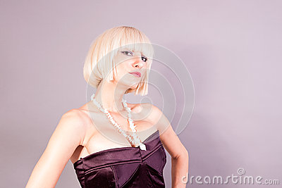 Portrait of hot blond girl