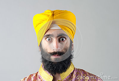 Portrait of Indian sikh man with bushy beard