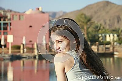 The portrait of innocence beautiful girl in blue