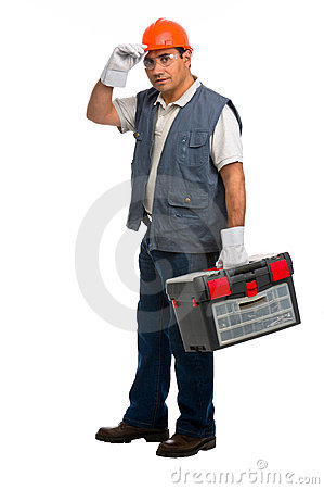 Portrait Isolated manual worker carrying a toolbox