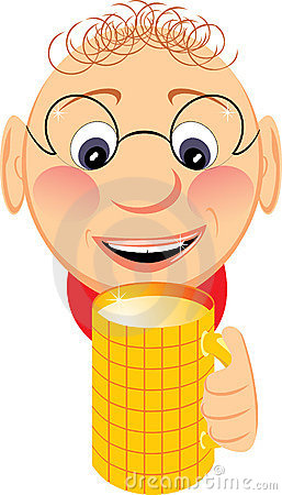 Portrait of jovial fellow with mug of beer