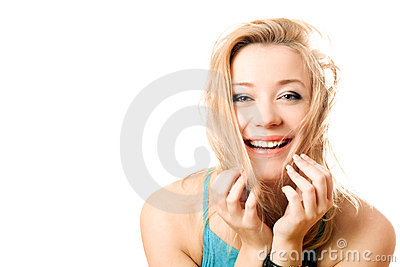 Portrait of a joyful attractive blonde