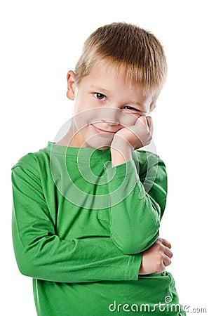 Portrait of joyful beautiful little boy