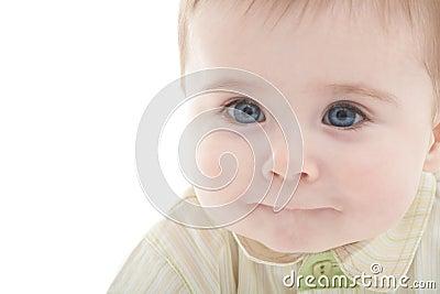Portrait of joyful blue-eyes baby boy