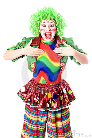 Portrait of joyful female clown