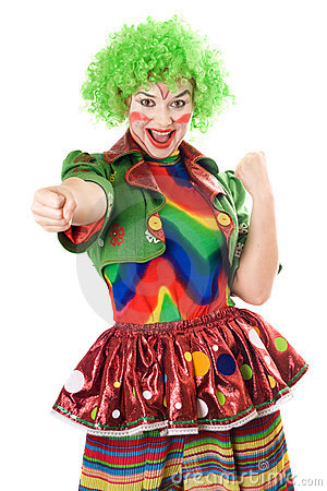 Portrait of joyful female clown. Isolated
