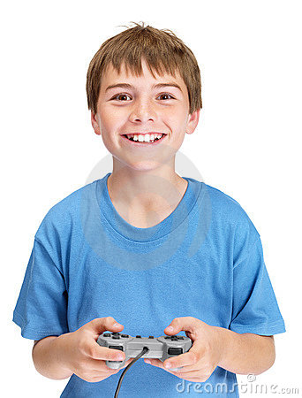 Portrait of a joyful young boy playing video game