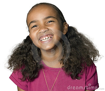 Portrait of a Latino girl laughing