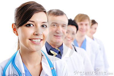 Portrait of laughing cheerful doctor s faces