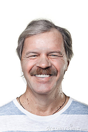 Portrait of laughing cheerful mature man isolated