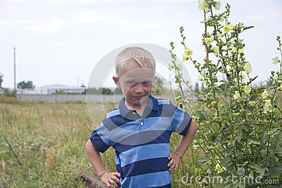 Portrait of little blond boy near big flowers