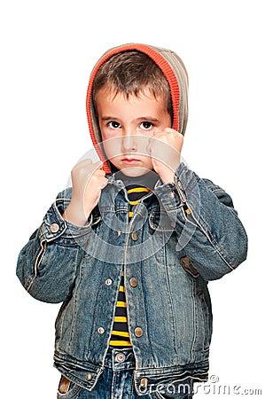 Portrait of little boy with black