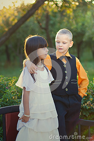 Portrait of a little boy and girl couple