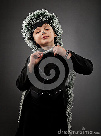Portrait of the little boy wearing hedgehog suit