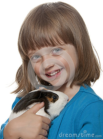 Portrait of little girl and her pet a guinea pig