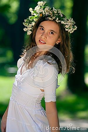 Portrait of little girl in the park