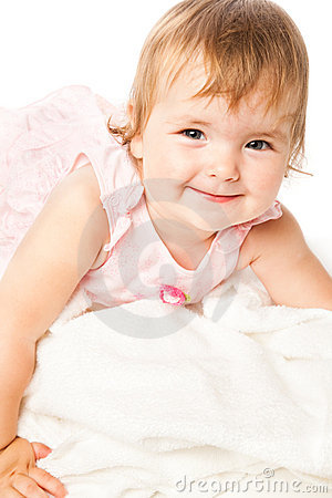 Portrait of little girl in pink dress