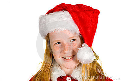 Portrait of little girl in santa s hat