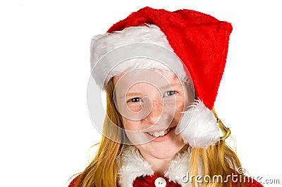 Portrait of little girl in santa s hat