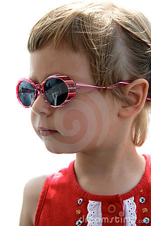 Portrait of little girl with sunglasses