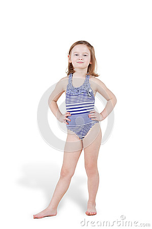 Portrait of little girl in swimsuit posing