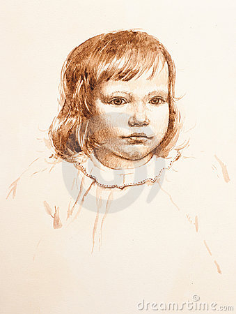 Portrait of little girl. watercolor
