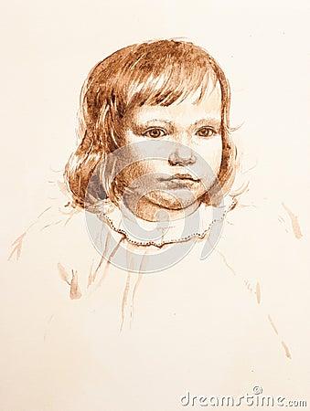 Portrait of little girl. watercolor