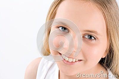 Portrait of Little Girl on white