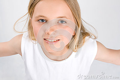 Portrait of Little Girl on white
