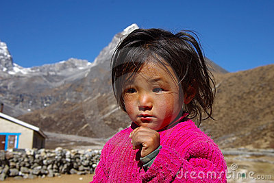 Portrait of little nepalese girl Editorial Photo