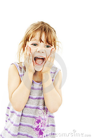 Portrait of little surprised girl excited scared