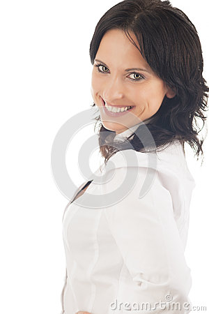 Portrait of lovely brunette woman isolated