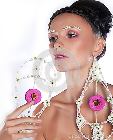 Portrait of lovely female supermodel