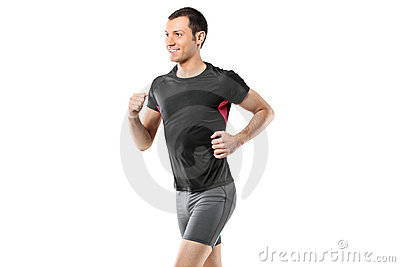 Portrait of a male athlete running