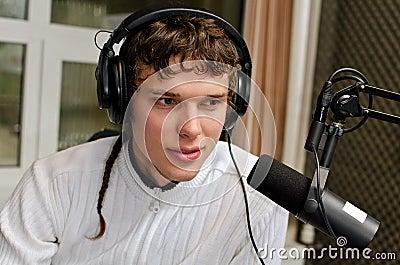 Portrait of male dj working