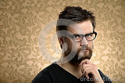 Portrait of Man With Beard and Glasses