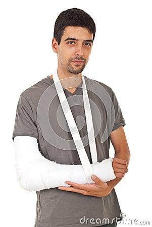 Portrait of man with broken hand