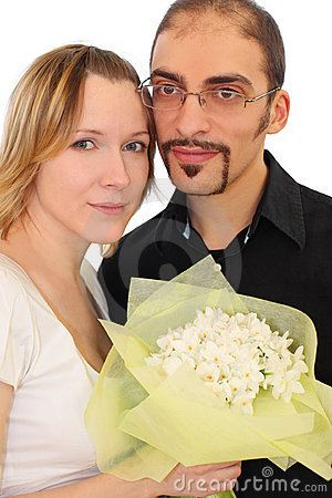 Portrait of man in glasses and beauty blond girl