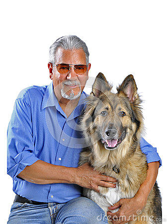 Portrait of a man and his dog